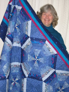 Susan Tripp won Mary Jo's handmade quilt at the auction awhile back
